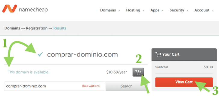 Comprar Dominio en Namecheap